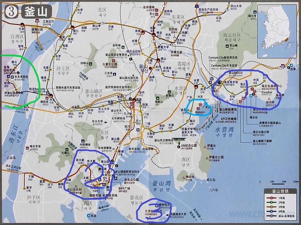 海云台,2. 南浦洞&ktx釜山火车站,3.