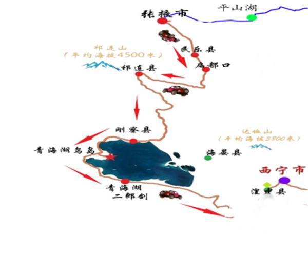 新疆青海甘肃旅行地图