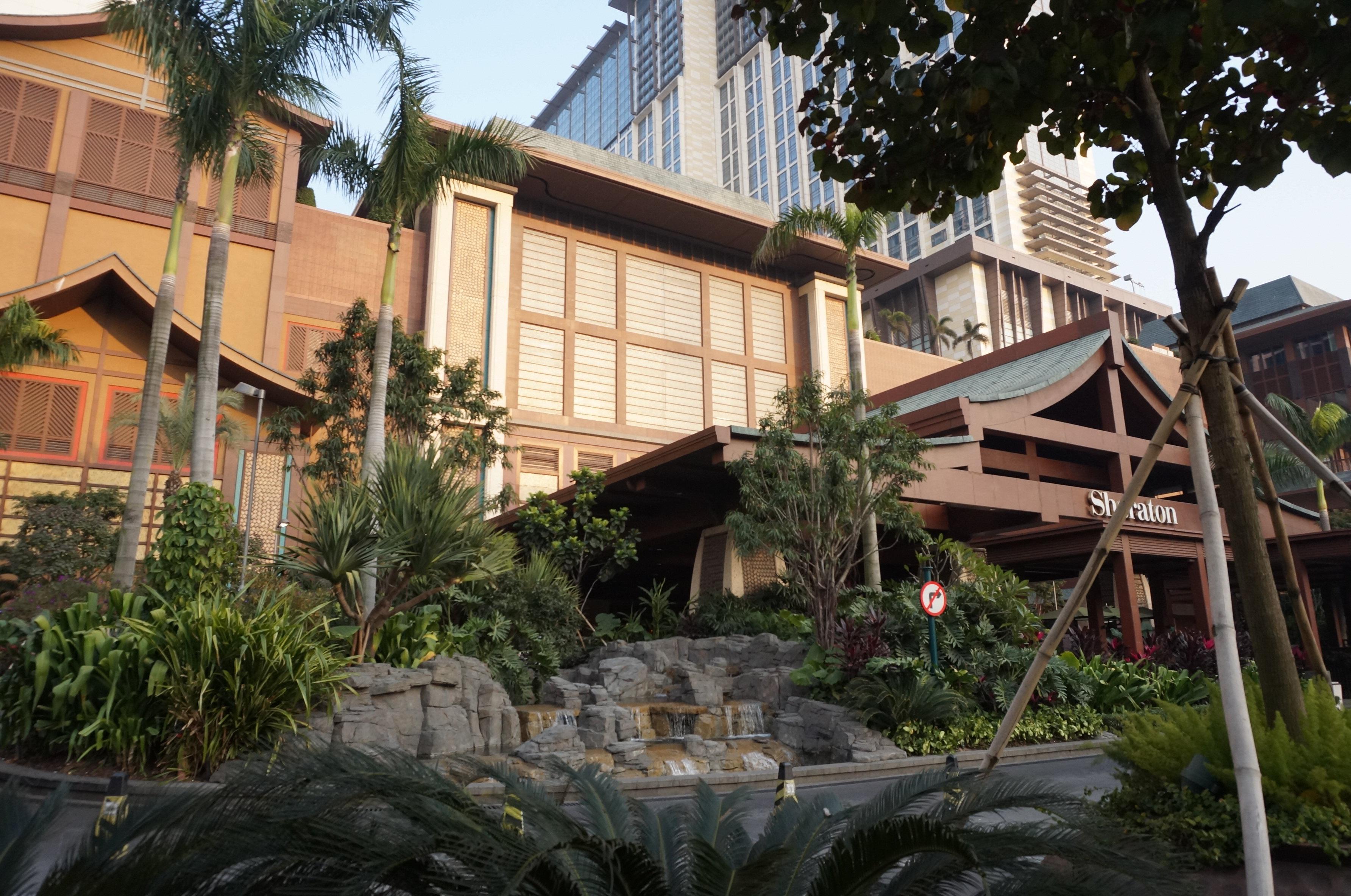 金沙喜来登酒店外观很有东南亚风格.