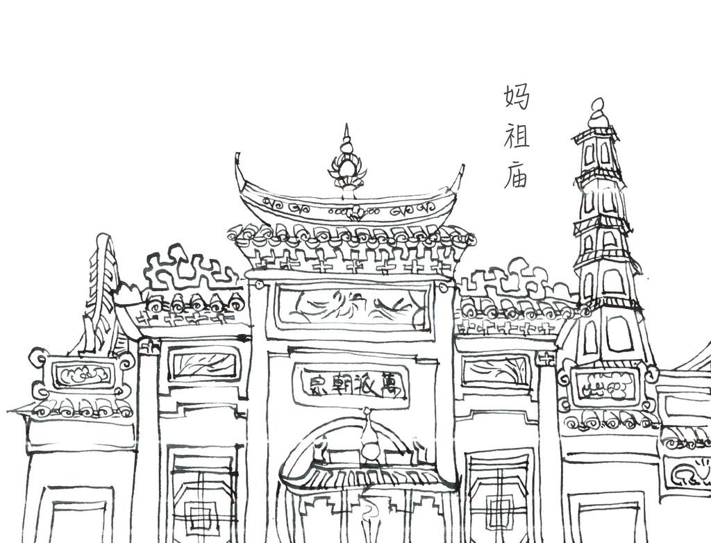 建筑物手绘 线稿