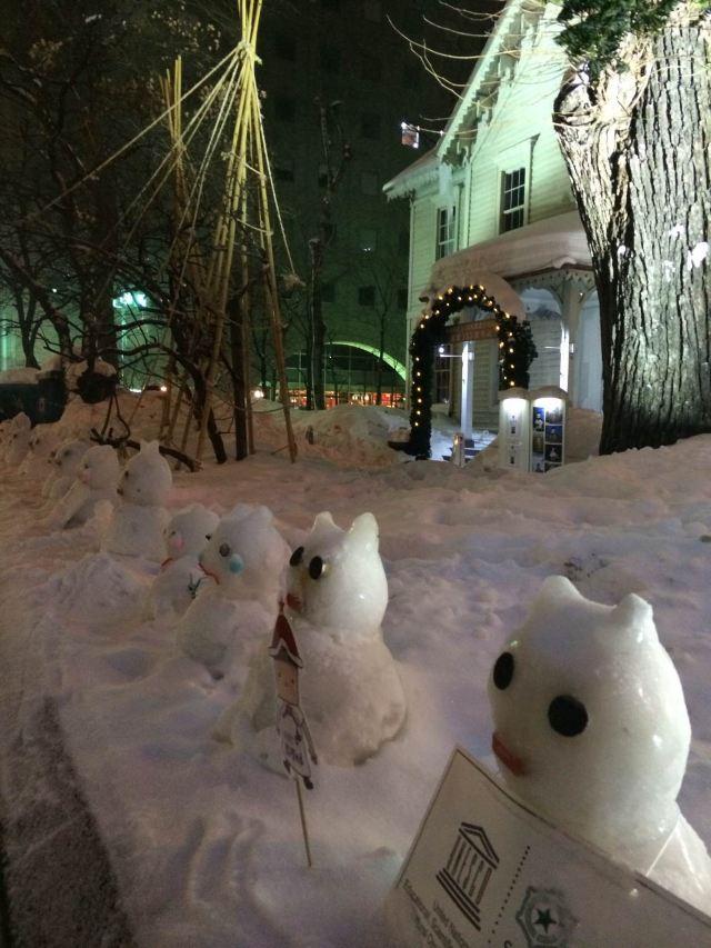回程依旧是可爱的动物列车.回酒店稍作休整.便出门感受札幌夜景.