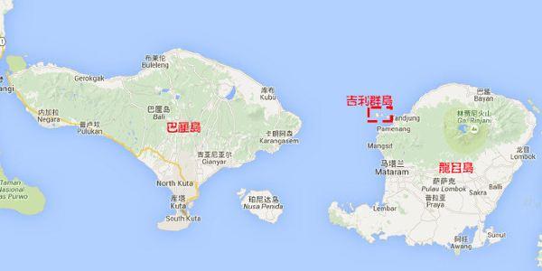 龙目岛,吉利群岛位置关系地图