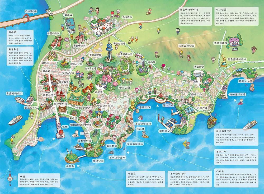 青岛栈桥地图绘画
