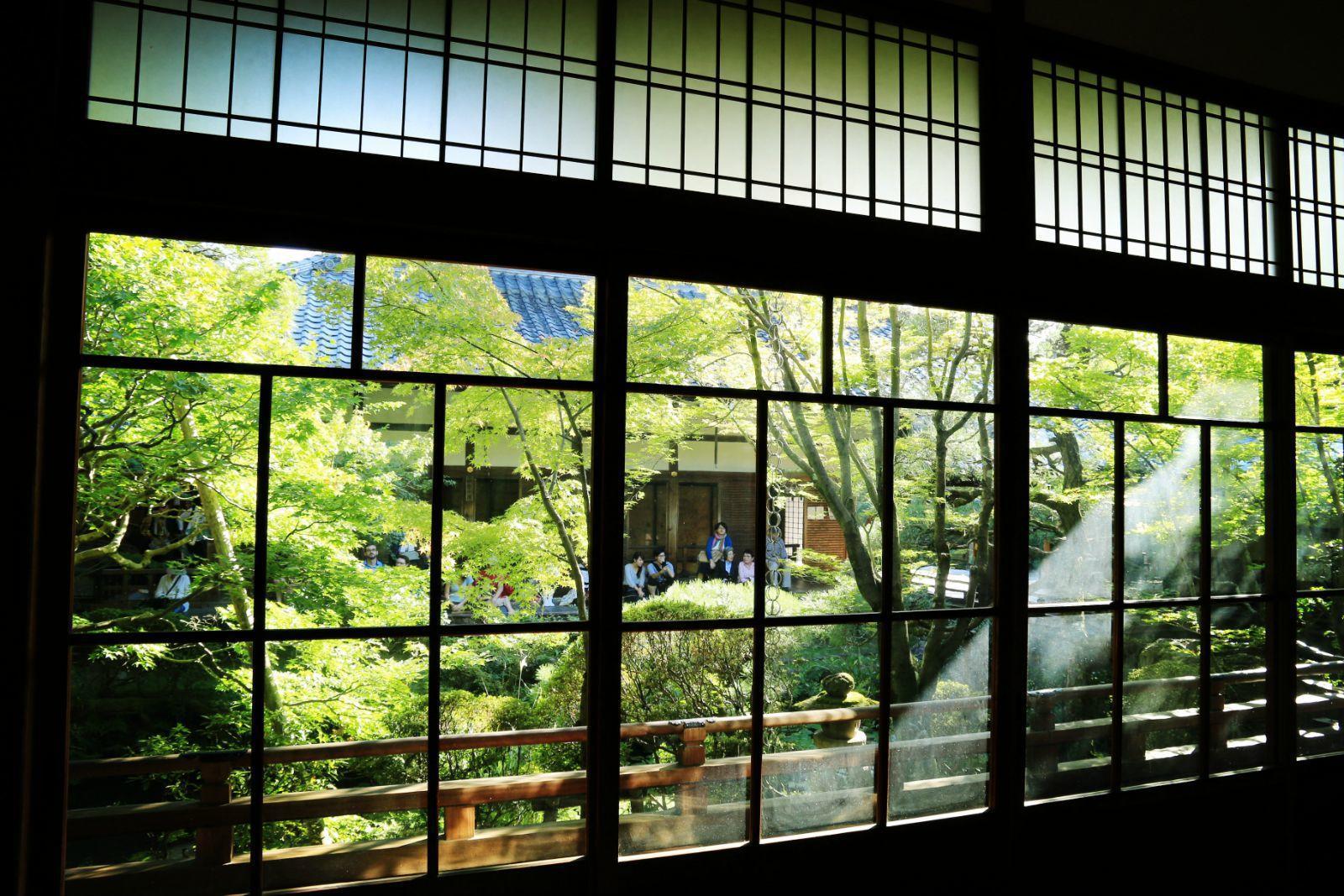 室内长廊的窗户印衬出庭院之美