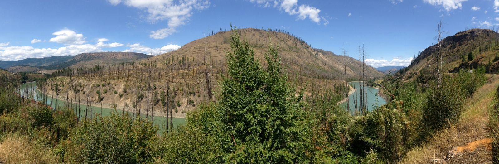 远处山上被山火烧毁的森林