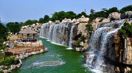 西安唐苑瀑布手绘图