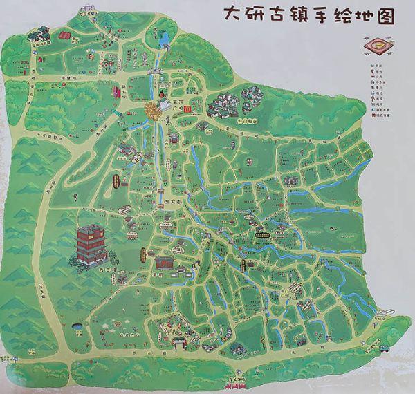 (丽江大研古城手绘地图,来源网络)