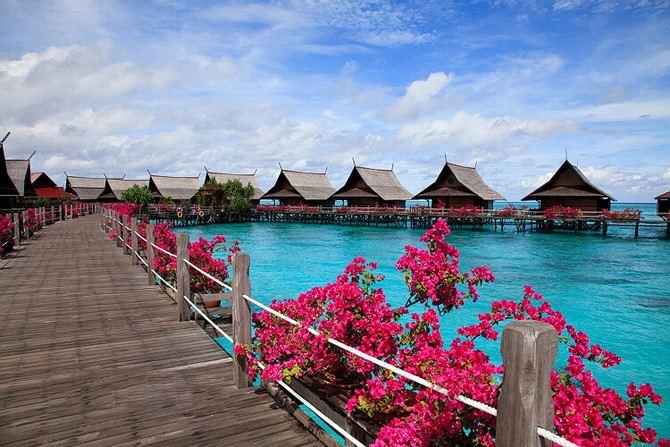 沙巴卡帕莱岛8天小资奢华自由行,鲜花盛开的大海,海量