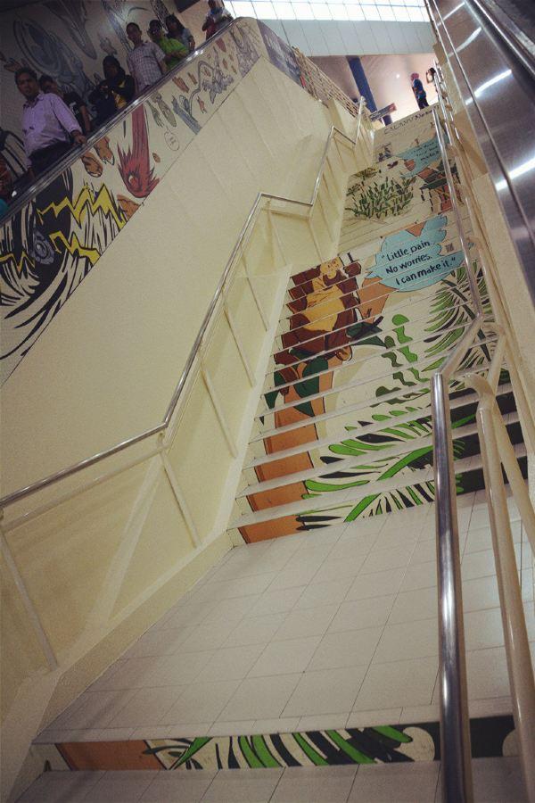 楼梯卡通绘画